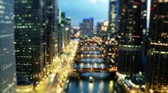 Stock Video Footage of Chicago Tilt Shift at Evening