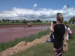 Tidal Bore Part 3, Bay of Fundy- Nova Scotia, Canada Stock Footage