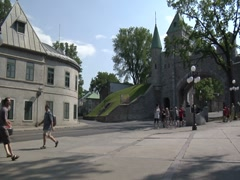 Quebec City Walls, Fortifications- Canada Stock Footage