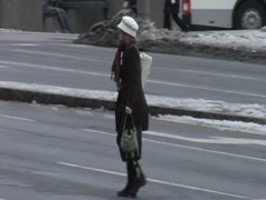 Woman Walking Across City Street- Winter Stock Footage