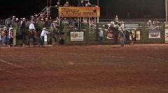 Rodeo bareback bronc ride hard landing slow P HD 9883 Stock Footage