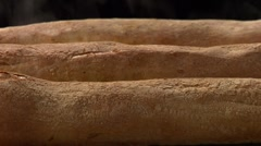 Freshly baked baguettes Stock Footage