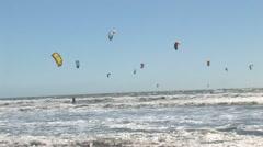 Kitesurfers, wide angle Stock Footage