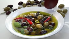 Marinated olives Stock Footage