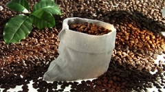 Filling a sack with coffee beans Stock Footage