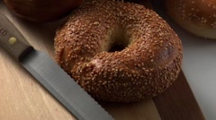Assorted bagels Stock Footage