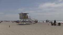 Mission Beach, San Diego Lifeguard Station Zoom In Stock Footage