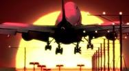 Airplane landing at sunset Stock Footage