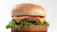 A rotating cheeseburger Stock Footage