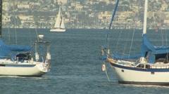 San Diego, California Harbor with Sailboats Stock Footage