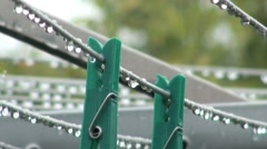 Rain and Washing Line Pegs Stock Footage
