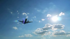 Airplane flying over head near airport 1080 60i - stock footage