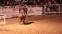 Barrel racing girl rodeo night P HD 9943 Stock Footage