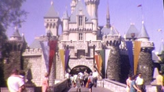 Disneyland Magic CASTLE Kingdom Theme Park 1970s Vintage Film 8mm Home Movie 340 Stock Footage