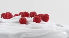 Cream with raspberries Stock Footage