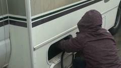 woman propane attendant - stock footage
