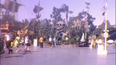 Pirates of Caribbean People at Disneyland  1960 s Vintage Film Home Movie 341 Stock Footage