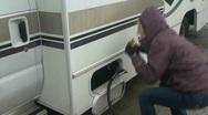 Propane  , woman gas attendant Stock Footage