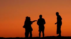 Sunset with silhouette Stock Footage