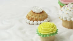 Rose muffins, muffins with meringue topping Stock Footage