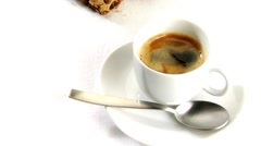 A cup of caffe crema with cookies Stock Footage