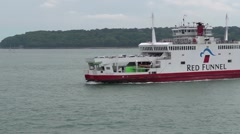 Red funnel Ferry crossing the frame coming from Cowes to Southampton Stock Footage