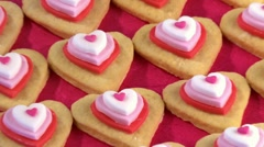 Heart-shaped biscuits Stock Footage