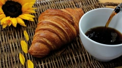 Breakfast Coffee Croissant Served Stock Footage