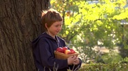 Stock Video Footage of Apple falling from the head of a boy leaning against a tree