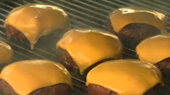 Grilling meat patties for cheeseburgers Stock Footage
