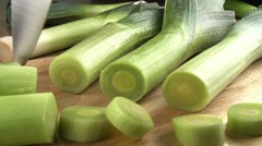 Slicing leeks Stock Footage