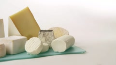 Various cheeses Stock Footage
