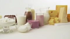 Various dairy products, flavoured milks and cheeses - stock footage