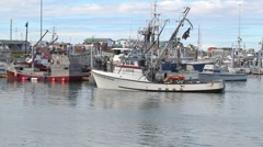 Fishing boat moving through the harbor Stock Footage