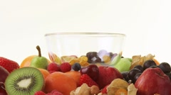 Fresh fruit and bowl of cornflakes Stock Footage