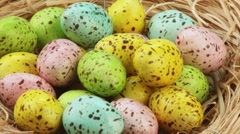 Coloured quails' eggs in Easter nest Stock Footage