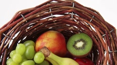 Basket of fresh fruit Stock Footage