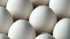 White eggs in an egg tray Stock Footage