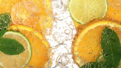 Drink with citrus fruit (detail) Stock Footage