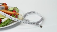 Vegetables and berries with tape measure Stock Footage