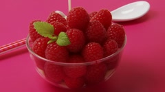 Pouring custard over fresh raspberries - stock footage