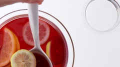 Punch with citrus fruit Stock Footage