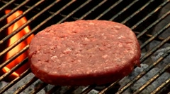 Burger on a barbecue Stock Footage