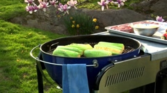 Corn on the cob on a barbecue Stock Footage