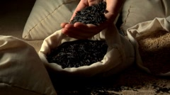 Wild rice in a sack Stock Footage