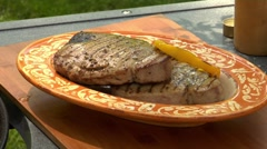 Grilling tuna steaks and pepper slices Stock Footage