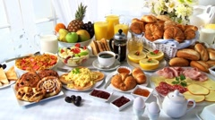 Breakfast buffet Stock Footage