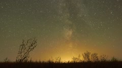 Night sky of stars time-lapse - Milky Way and glow - stock footage