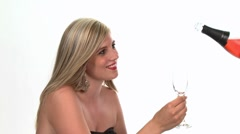 Blond woman with a glass of rosÈ sparkling wine Stock Footage