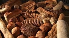 Various types of bread and bread rolls Stock Footage
